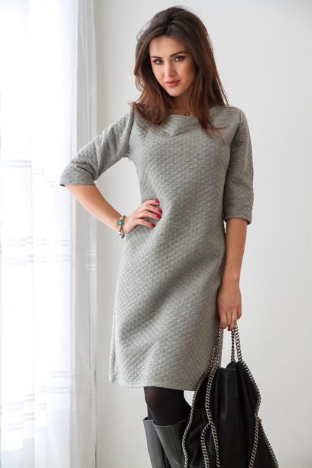 szara pikowana sukienka
